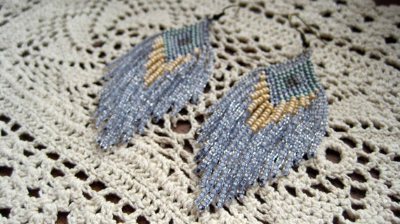 hand beaded feather fringe native style earrings pale blue soft