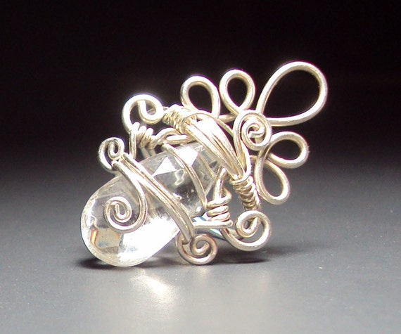 STERLING SILVER, CLEAR WIRE WRAPPED RING