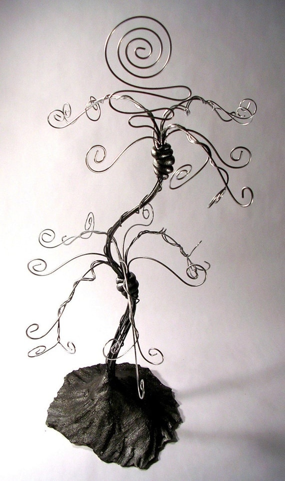 BLACK AND SILVER JEWELRY TREE