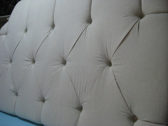 DISCOUNTED PRICE - Tufted Headboard with Clipped Corners - Queen - Oatmeal