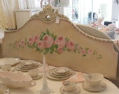 shabby chic roses antique full headboard wall hanging art cottage hand painted
