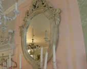 vintage shabby chic mirror frame fabulous huge ornate scrolly crackle distressed
