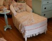custom order shabby chic  chaise lounge slipcovered chanille bedspread roses fabrics