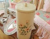 vintage tole hamper laundry basket off white pink roses shabby chic cottage bath room prairie