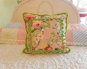 down pillow vintage flower fabric apple green pom pom brush fringe trim shabby chic 20x20