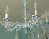 vintage crystal chandelier shabby chic aqua light baby blue bronze antique cottage beach coastal
