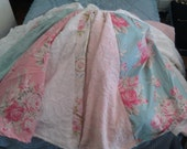 shabby vintage chic christmas tree skirt chenille bedspread roses white aqua pink, custm made to order any colors cottage prairie