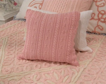 shabby chic rose pink pillow 18 x 18 down made from a cotton sweater