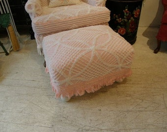 shabby slipcovered chic footstool  vintage chenille bedspread fabric fringe trim pink white cottage made to order