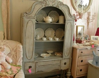 custom order french blue antique china cabinet shabby chic cottage fabulous