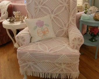 custom chic slipcover ed shabby wingback chair vintage chenille bedspread s  cottage prairie