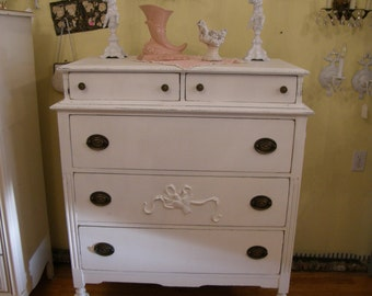 custom order chic antique dresser shabby white distressed tall cottage prairie vintage french bedroom girls