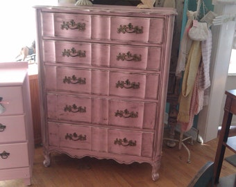 custom order vintage chic french dresser shabby pink distressed provincial cottage prairie white tall