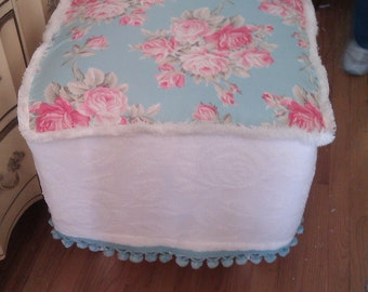 shabby chic ottoman footstool with  slip cover vintage chenille bedspread  rose fabric pom pom cottage prairie