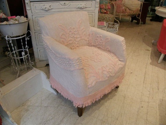chair with slipcover shabby chic  vintage chenille bedspread custom made to order cottage