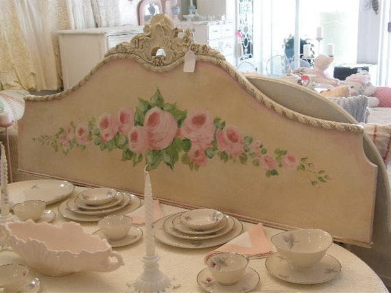 Shabby Chic Roses Antique Full Headboard Wall Hanging Art
