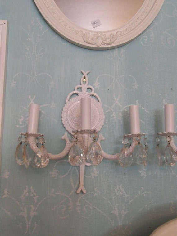 Wall Sconces Shabby Chic : shabby chic antique white wall sconce by VintageChicFurniture