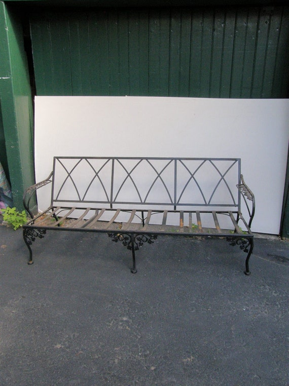 Vintage Wrought Iron Couch Sofa For Home Patio Garden Shabby