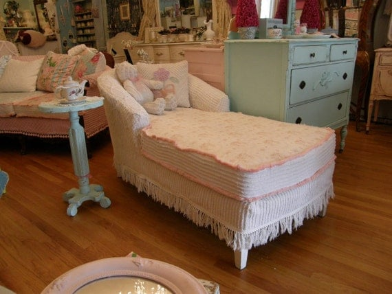 Vintage Chenille Bedspread Slipcover Chaise Lounge