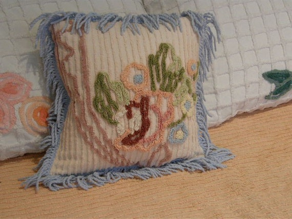 Shabby Chic Chenille Pillows : down pillow shabby chic vintage chenille by VintageChicFurniture