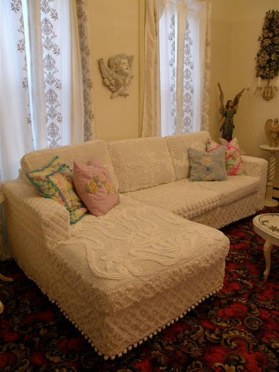 shabby couch chic sofa sectional white by vintagechicfurniture. Black Bedroom Furniture Sets. Home Design Ideas
