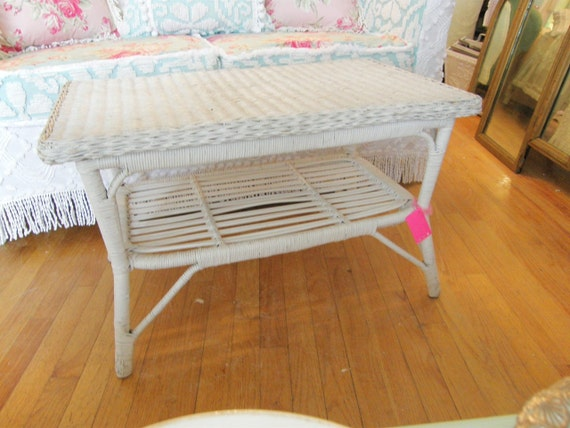 vintage shabby chic coffee table white wicker distressed patio garden