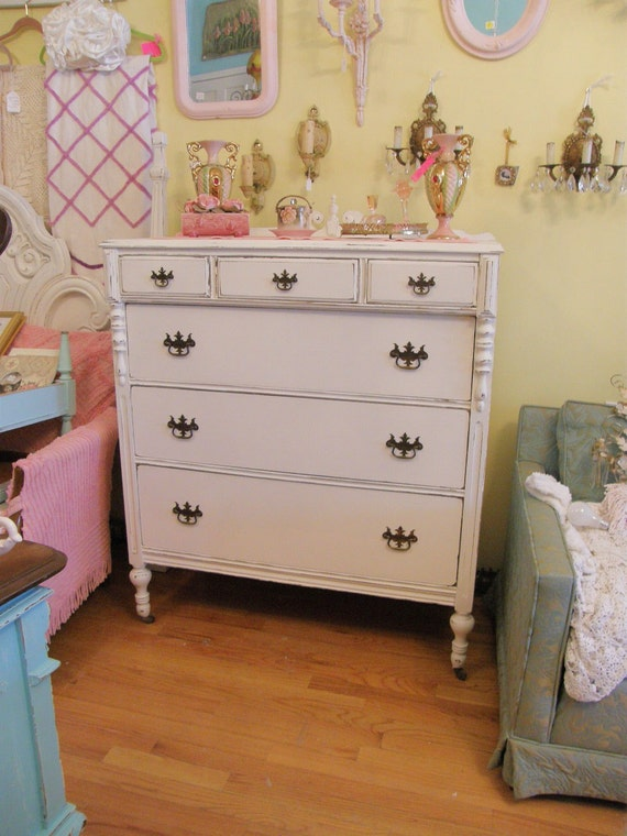 antique chic dresser shabby  white distressed cottage coastal bedroom vintage prairie