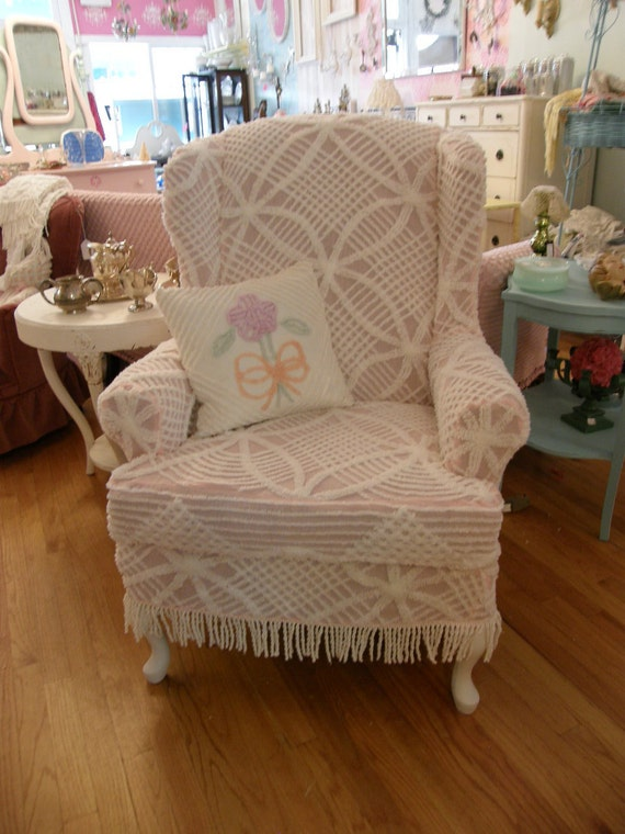 Custom Chic Slipcover Ed Shabby Wingback Chair Vintage
