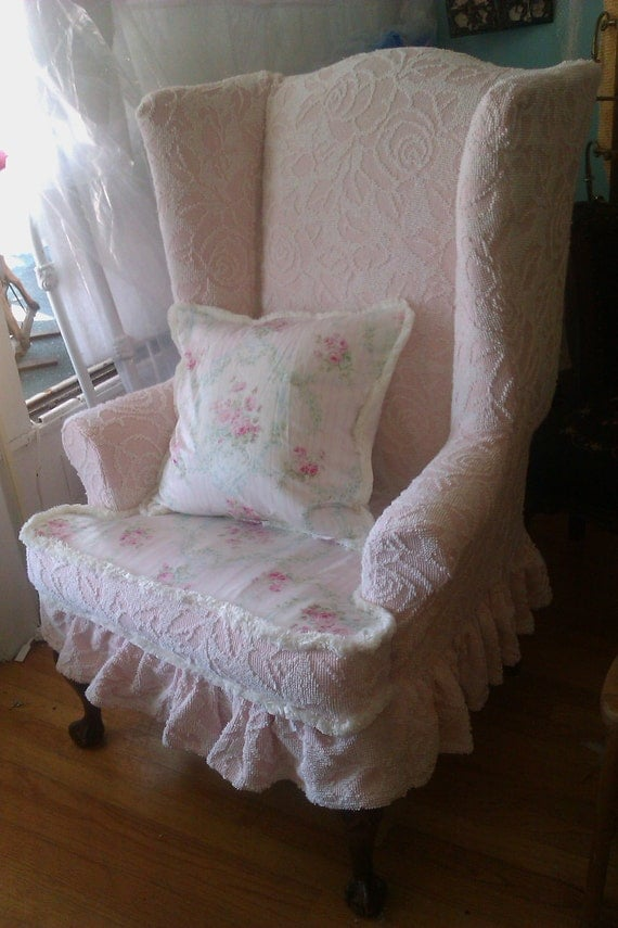Pink shabby chic slipcovered wingback chair ruffle cottage prairie