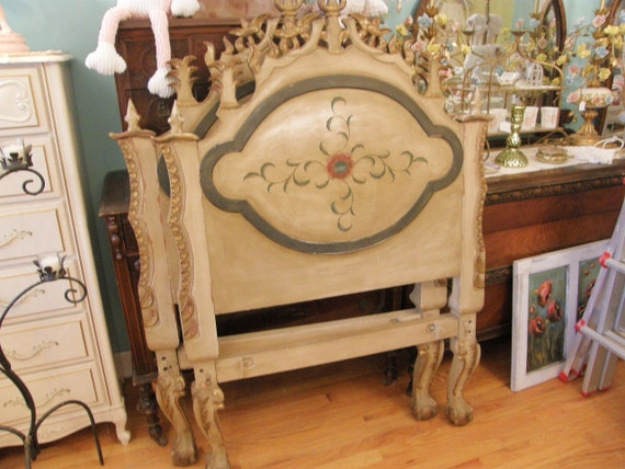 antique chic shabby daybed twin headboard pair distressed carved prairie cottage single matching day bed frame