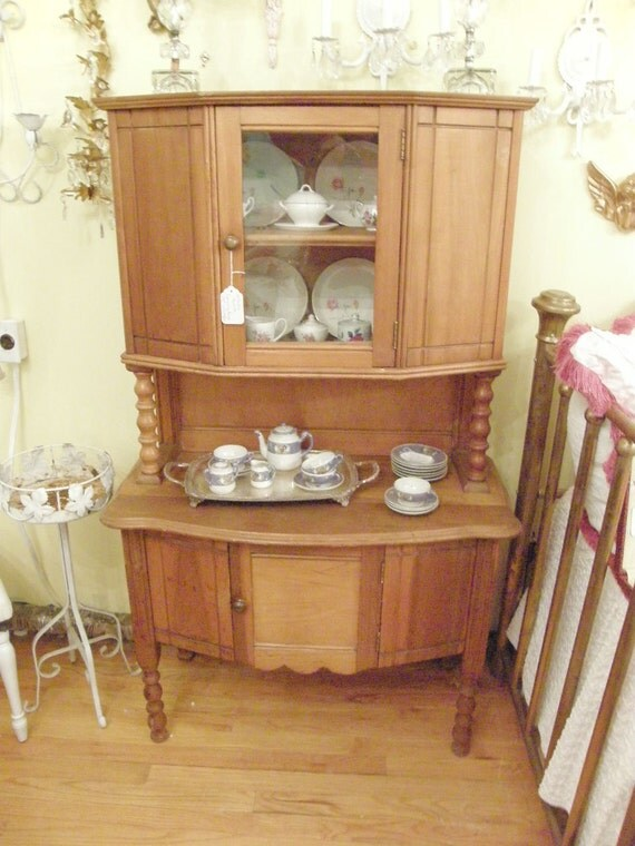RARE antique childs cupboard hutch china cabinet kids kitchen play vintage miniature salesman sample