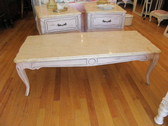 Vintage Coffee Table French Marble Shabby Pink Chic Distressed