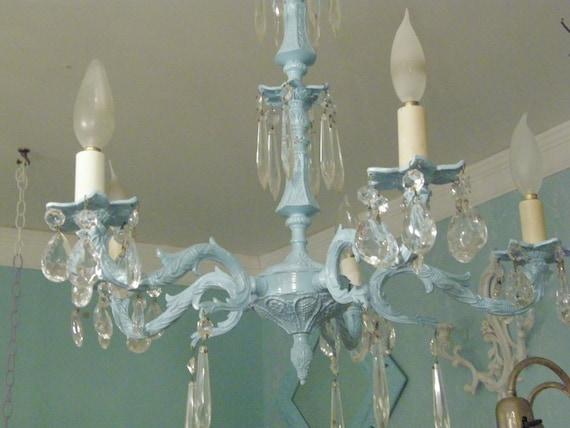 Vintage Crystal Chandelier Shabby Chic Aqua Light Baby Blue