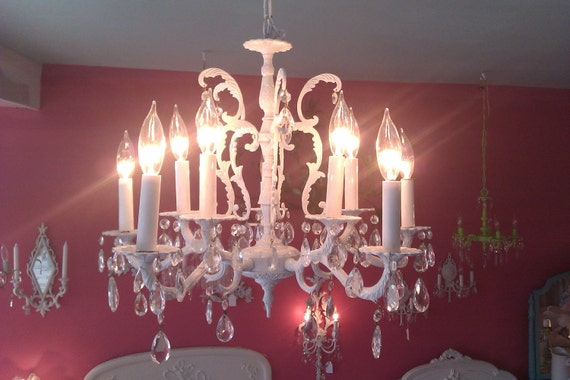 large antique crystal chandelier shabby chic white prairie french cottage awesome vintage lighting