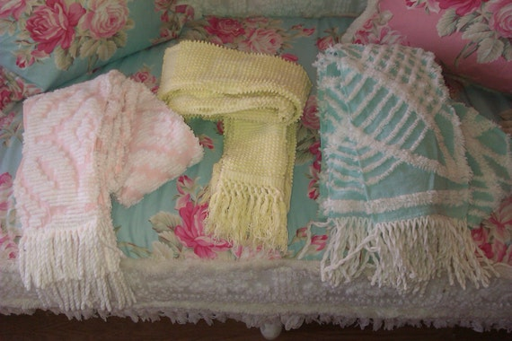 scarf vintage chenille bedspread pink shabby chic aqua yellow white over 90 inches long