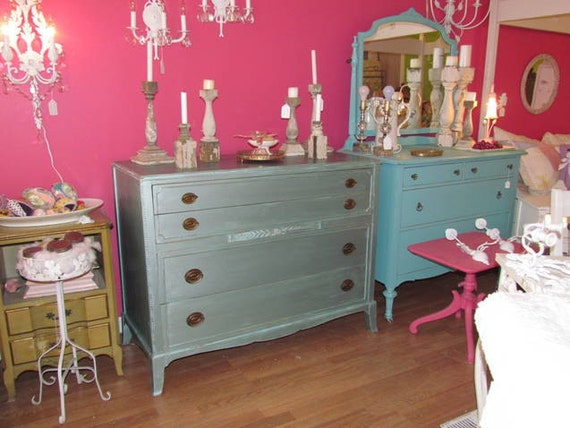 vintage mahogany dresser metallic blue shabby chic modern cool beach cottage