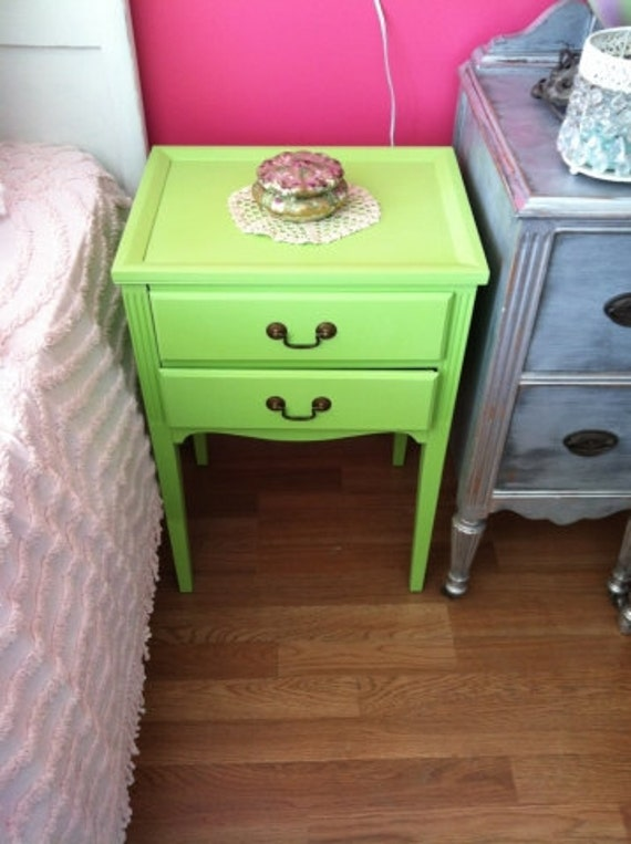 vintage chic nightstand table sewing side end lime green shabby painted cottage prairie antique