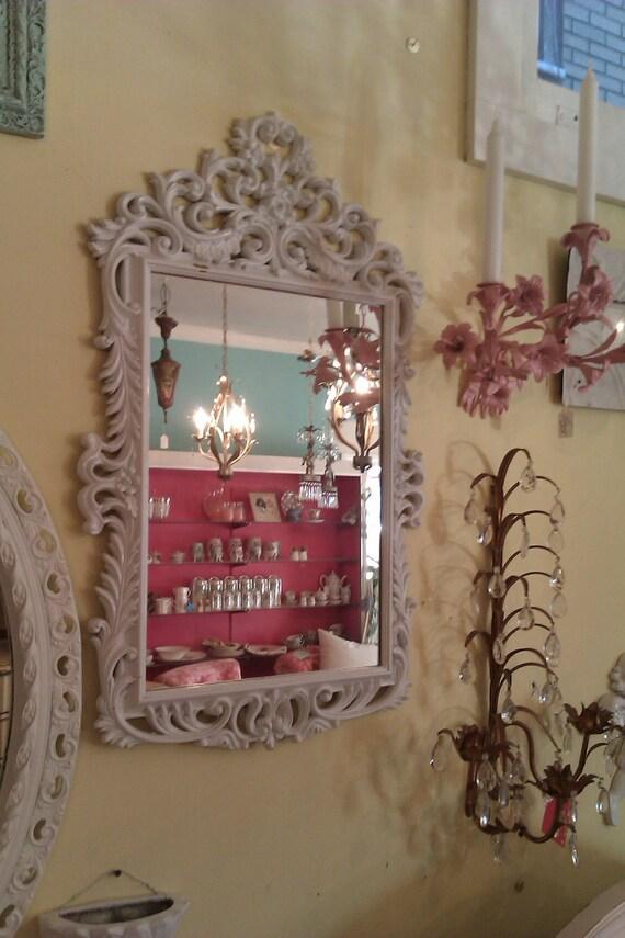 vintage gloss white mirror frame shabby chic syroco mid century modern