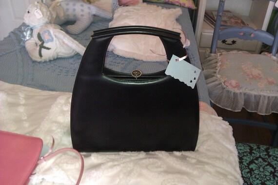 vintage leather pocketbook purse handbag black hand bag