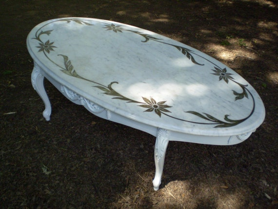 Antique Oval Marble Coffee Table White Carrara Etched Top