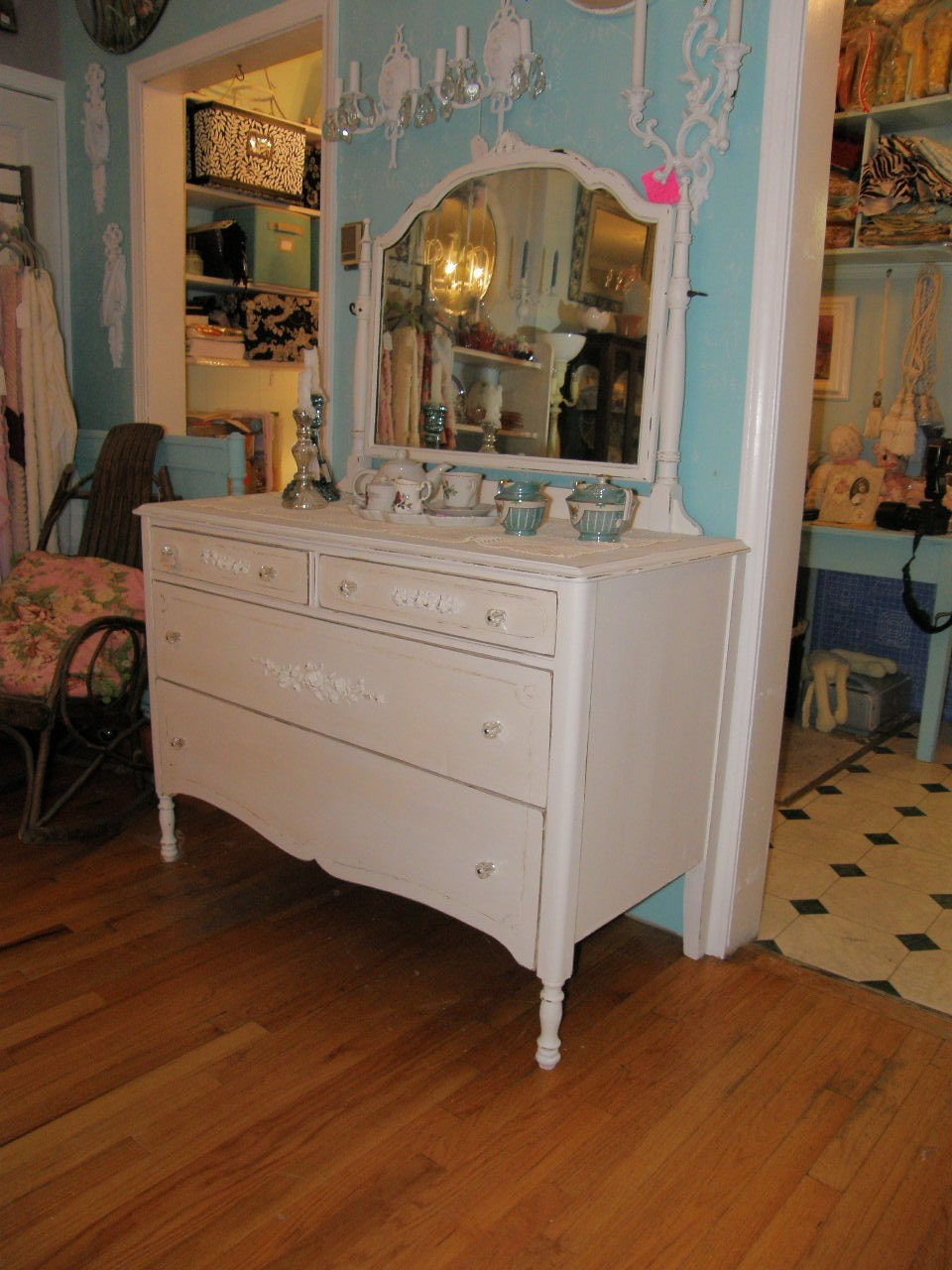 Antique Dresser With Mirror With Rose By Vintagechicfurniture