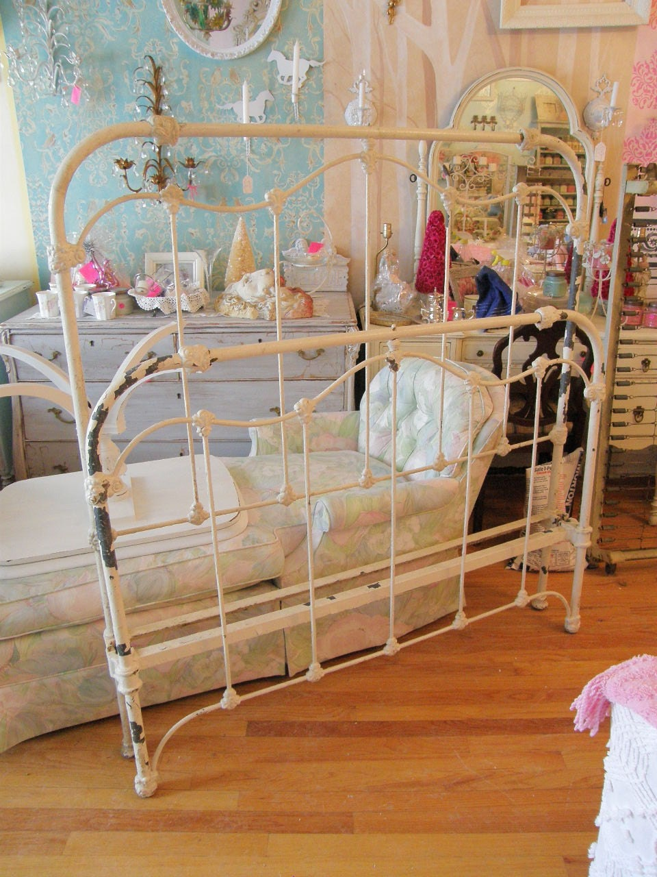Antique iron bed queen - Custom Order Antique Iron Full Shabby Chic Bed Frame Stripped And Painted White
