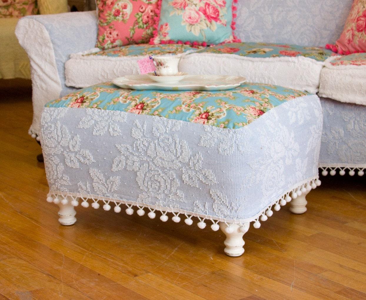 Slipcover wingback chair - Shabby Chic Ottoman Chenille Bedspread Slipcover Roses Pom Pom