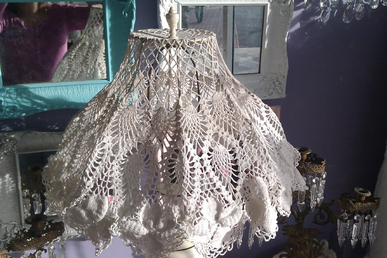 Vintage Lamp Shade Crochet Doiley Shabby By