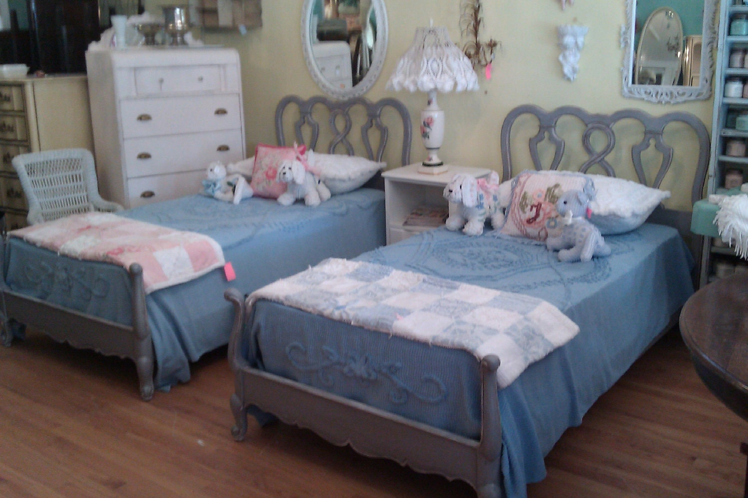 Vintage Antique Twin Bed Frame Shabby Chic Pair French Gray