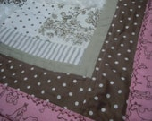 Cuddly Baby Blanket in browns, pink and plush - PruittCreations
