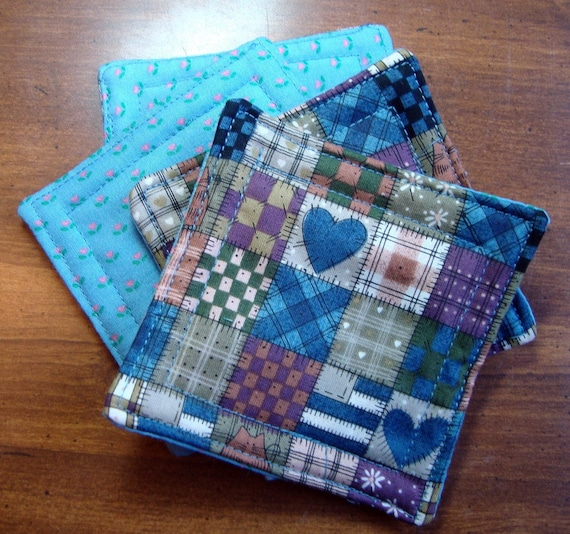 CLEARANCE - Fabric Coasters country homespun blue hearts reversible