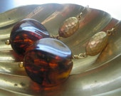 Hammered Root Beer Lucite Earrings