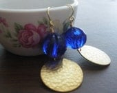 Royal Blue Hammered Earrings