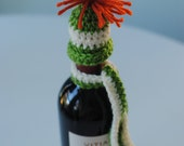 Crocheted Wine Bottle Attire Holiday Gift Set or Decoration - Hat and Scarf - Fall - Orange/Cream/Green - Thanksgiving - Housewarming